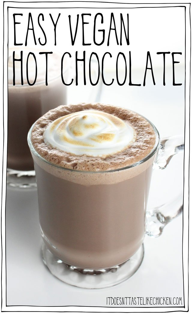 Easy Vegan Hot Chocolate with toasted marshmallow fluff! Yes please! This dairy-free treat whips up in just 15 minutes (including making the marshmallow fluff) for the perfect winter holiday treat. #itdoesnttastelikechicken