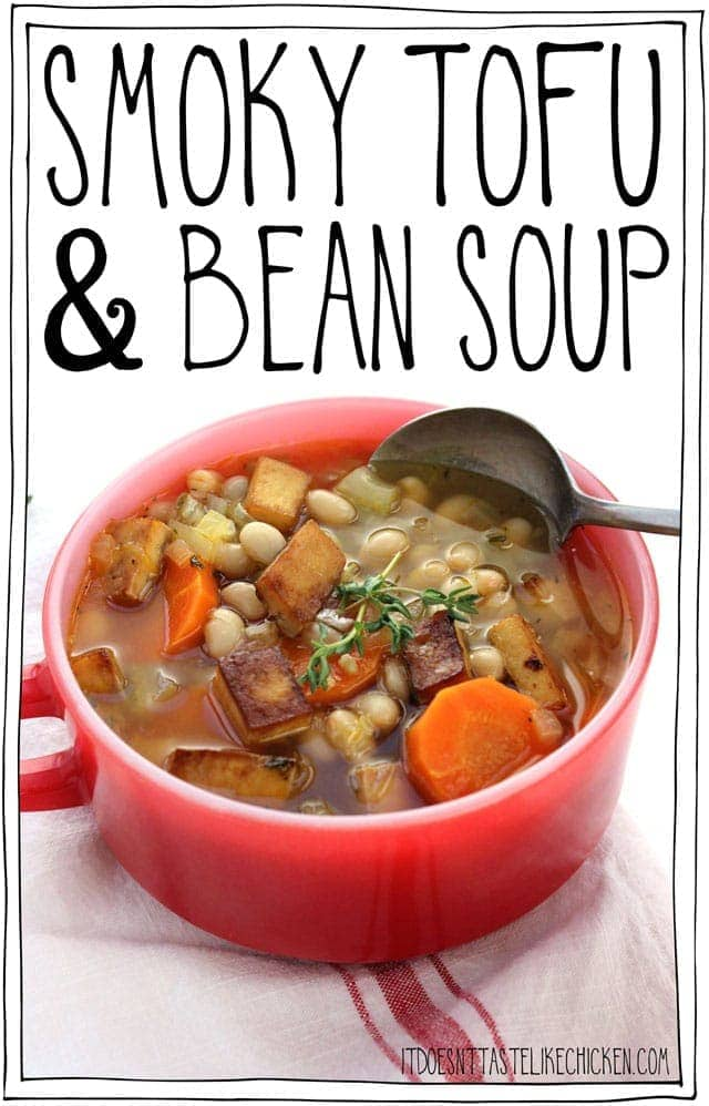 Smoky Tofu & Bean Soup! A vegan version of ham and bean soup with sweet, smoky, salty, and chewy tofu bites topping the soup. #itdoesnttastelikechicken