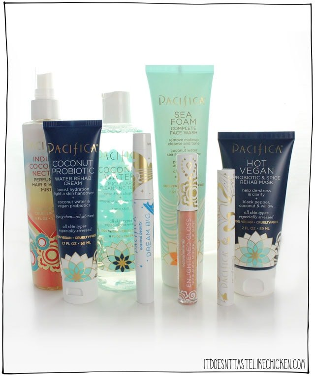 Pacific vegan beauty giveaway! A gorgeous collection of 8 bestselling products form Pacifica. Day 1 of 12 days of giveaways 2017. #itdoesnttastelikechicken
