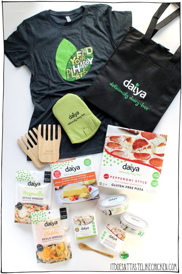 Daiya Vegan Cheese Gift Box Giveaway!!!!! 4 lucky winners will win this huge collection of Daiya products and accessories, perfect for vegan or dairy-free lovers. #itdoesnttastelikechicken