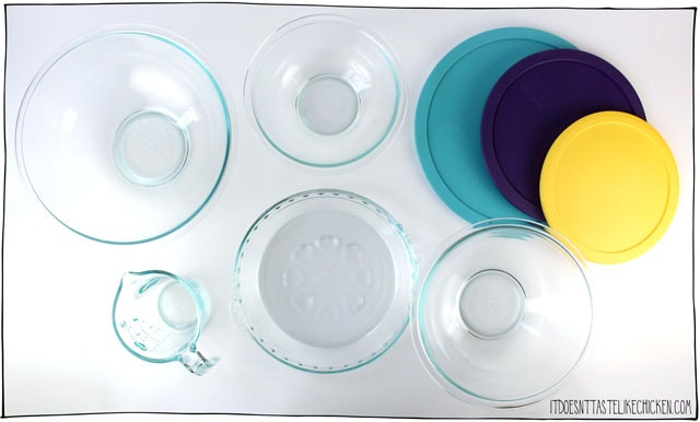 Pyrex Love Collection Baking Set Giveaway!!! Win these three mixing bowls, heart patterned pie plate, and turquoise measuring cup from this limited edition collection. Perfect for a home baker. #itdoesnttastelikechicken
