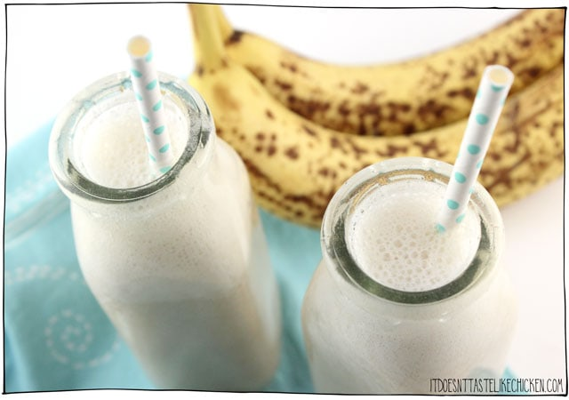 Banana milk - 2 Ingredients! Just water and bananas to make this easy vegan milk substitute. A great recipe to have on hand for when you run out of milk. Tastes great on cereal, oatmeal, for dipping cookies, in baked goods, in hot chocolate, or anywhere that could use a touch of sweet creaminess. #itdoesnttastelikechicken #vegan #dairyfree #nondairy