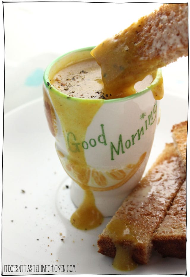 Vegan Toast Dipping Sauce - it's a vegan egg yolk! Just 5 minutes to make, only 6 ingredients, is completely cholesterol free (unlike the cholesterol bombs of an egg yolk), and is incredibly, super delicious with toast dipped into it. Rich, creamy, savoury, umami, with a crack of pepper on top, oh yeah, I am loving my breakfast today! #itdoesnttastelikechicken #veganegg #veganrecipes #veganbreakfast