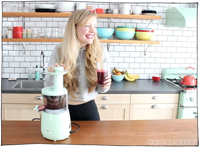 HUROM Slow Juicer Giveaway!! ($299 value). Enter for a chance to win this slow juicer. This super quiet, masticating juicer gets every last drop of juice. US and Canadian residents. #itdoesnttastelikechicken #giveaway #juicer #slowjuicer