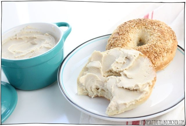 Vegan Cashew Cream Cheese - 3 ways! 6 ingredient, easy to make, cream cheese plus optional additions so you can make a fruit cream cheese, such as strawberry or pineapple, or a garlic & herb cream cheese. Perfect creamy, slightly tangy, spreadable, vegan cream cheese. Dairy-free. #itdoesnttastelikechicken #veganrecipes #vegancheese #dairyfree