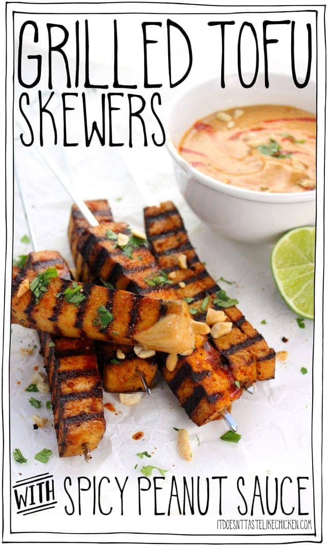 Grilled Tofu Skewers with Spicy Peanut Sauce