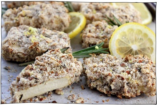 Almond Rosemary Lemon Crusted Tofu! This crispy, crunchy, crusted tofu is the perfect vegan main. Delicious served with a side of greens and a potato, or wonderful sliced and placed on top of a salad. Easy to make and even easier to enjoy! #itdoesnttastelikechicken #veganrecipe #tofurecipe #veganmain
