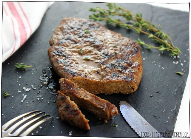 Vegan Seitan Steak! Yes, it's vegan!! Mouth-watering, tender, chewy, juicy, flavourful, meat-like texture. Amazing! BBQ or pan fry then serve whole or slice and put on top of salad for a steak salad. So delicious and satisfying! #itdoesnttastelikechicken #veganrecipes #vegansteak #steak
