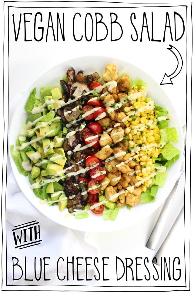 Vegan Cobb Salad with Blue Cheese Dressing!! Flavour bursting mushroom bacon, tender baked tofu, creamy avocado, juicy cherry tomatoes, sweet pops of corn on a bed of crispy romaine topped with a vegan blue cheese dressing. ← Now THAT is magic. #itdoesnttastelikechicken #veganrecipes #vegansalad #salad
