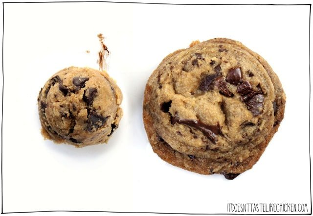 VEGANIED: Tasty's Chocolate Chip Cookies! I took the viral cookie recipe and made it vegan. All the same flavours and textures, without eggs and dairy-free. #itdoesnttastelikechicken #veganrecipes
