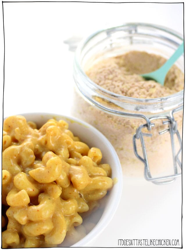 Homemade Vegan Mac & Cheese Powder! Add the ingredients to a jar and shake for shelf stable DIY boxed mac and cheese. This instant powder makes a creamy, cheesy, and super yummy vegan mac and cheese. Dairy-free, gluten-free, nut free, soy free, and whole food plant-based! #itdoesnttastelikechicken #veganrecipes #dairyfree #macandcheese