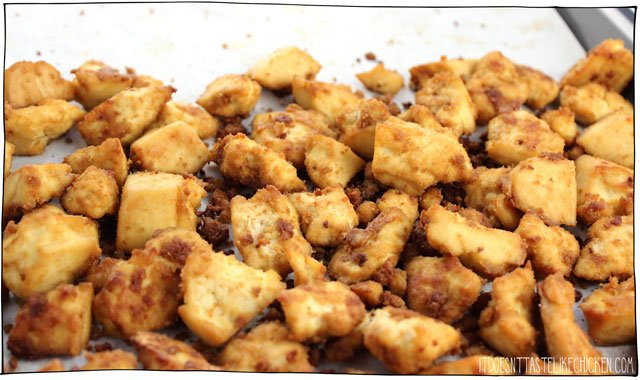 Baked Tofu Bites! An easy baked tofu recipe that is great on its own or can be used in so many dishes: on salads, in sandwiches, in tacos, on pasta, on nachos, as nuggets, the options are endless, use these everywhere! #itdoesnttastelikechicken #veganrecipes #tofu