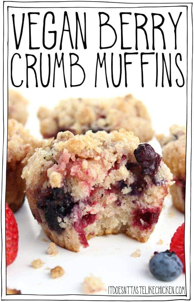 Vegan Berry Crumb Muffins! Fluffy, sweet, berry-stuffed and cinnamon-infused, super tender and moist, with a sweet crumbly topping. These quick and easy to make muffins are perfect for a special brunch or a wonderful breakfast treat. Dairy-free, egg-free. #itdoesnttastelikechicken #veganrecipes #veganbreakfast #muffins