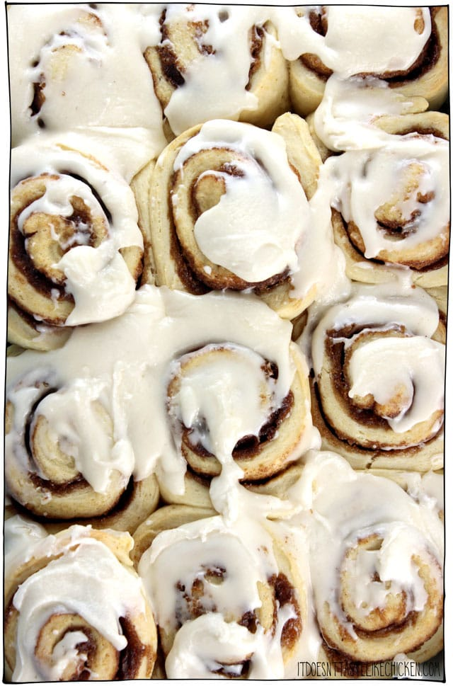 Easy Vegan Cinnamon Buns! No yeast. No rising. Only 10 ingredients. No weird ingredients. Freezable. Completely addictive!! No one will know they're vegan. #itdoesnttastelikechicken #veganrecipes #vegandesserts