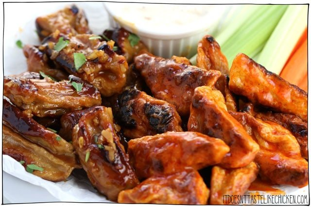 Vegan Chicken Wings!!!! Vegan seitan bites made in two flavours, sticky garlic and buffalo sauce. This classic bar food served with vegan blue cheese dip and all! Make ahead recipe. Perfect for Superbowl Sunday, game night, or a party appetizer. #itdoesnttastelikechicken #veganrecipes #vegan