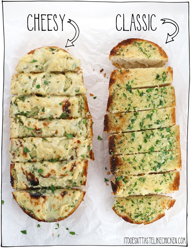 Cheesy Vegan Garlic Bread! This dairy-free garlic bread is quick and easy to make. Smothered in a homemade vegan cheese, perfect paired with your favourite Italian pasta dish. There's also an option for classic garlic bread (without cheese). #itdoesnttastelikechicken #veganrecipes #dairyfree