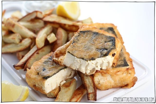 """Tofish and chips- (Vegan fish and chips)!! The """"fish"""" is made from tofu with a special technique that makes it flaky and full of flavour, all fried up in a homemade beer batter. #itdoesnttastelikechicken #vegan"""