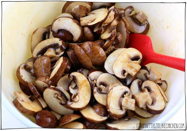 Sliced mushrooms tossed in vegan bacon marinade.