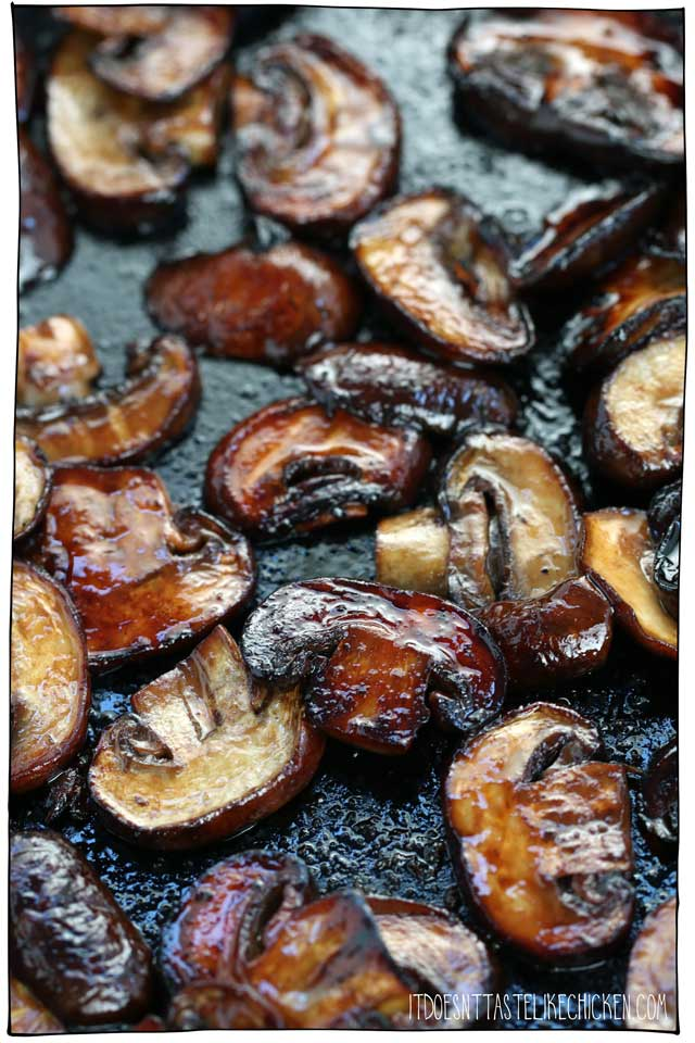 Mushroom bacon is so quick and easy to make! Just 5 ingredients and toss it in a skillet to fry up smoky, chewy, salty, mouthwatering vegan and vegetarian friendly bacon. Use as a topping on soups, salads, sandwiches, pasta, pizza, or serve it with tofu scramble for a vegan breakfast. #itdoesnttastelikechicken #veganbacon #vegan
