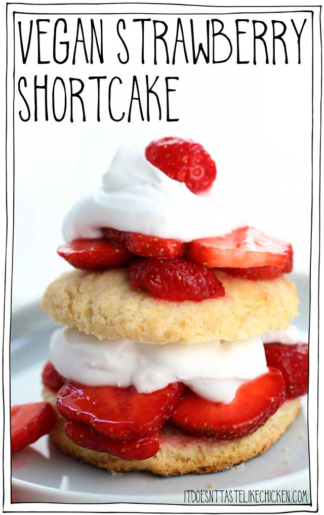 Vegan Strawberry Shortcakes! Easy to make, and can even be prepared ahead of time. Fresh juicy strawberries with a cloud of coconut cream layered between homemade vegan shortcakes. The perfect summer dessert. #itdoesnttastelikechicken #vegandessert #vegan