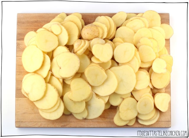 Slice the potatoes thinly for the best scalloped potato texture.