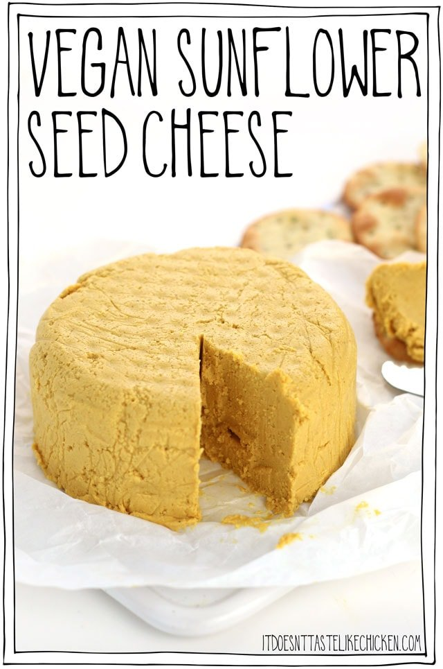 Vegan sunflower seed cheese! This nut-free vegan cheese is quick and easy to make with just 9 ingredients. Serve this vegan cheese with crackers or bread, spread on a sandwich, add to a salad, or use it anywhere you like! #itdoesnttastelikechicken #veganrecipes #vegancheese #nutfree