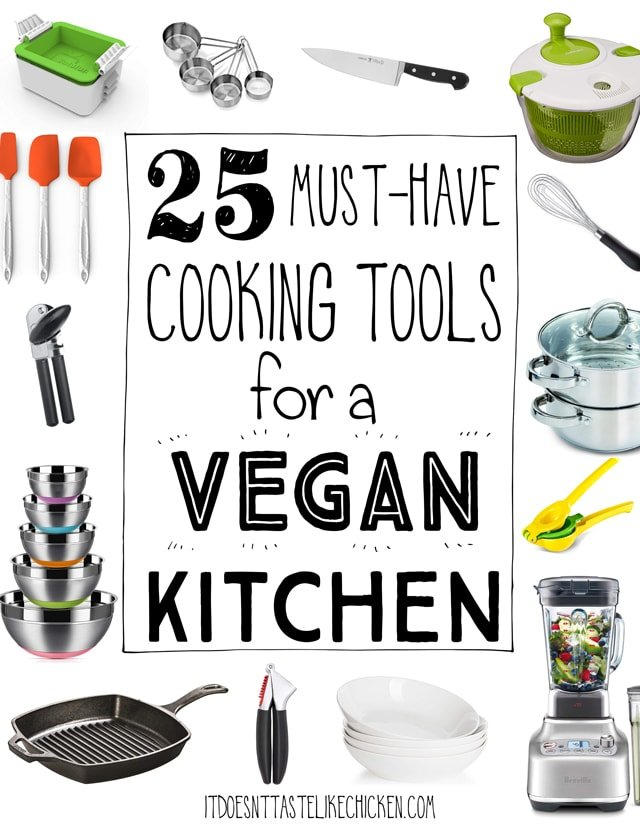 25 Must-Have Cooking Tools for a Vegan Kitchen! I've gathered my kitchen essentials that every home cook needs. This is the list of tools that I use all the time- if not daily, then at least weekly.