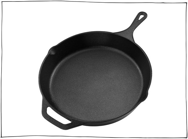 a large cast iron skillet is perfect for all your frying needs.