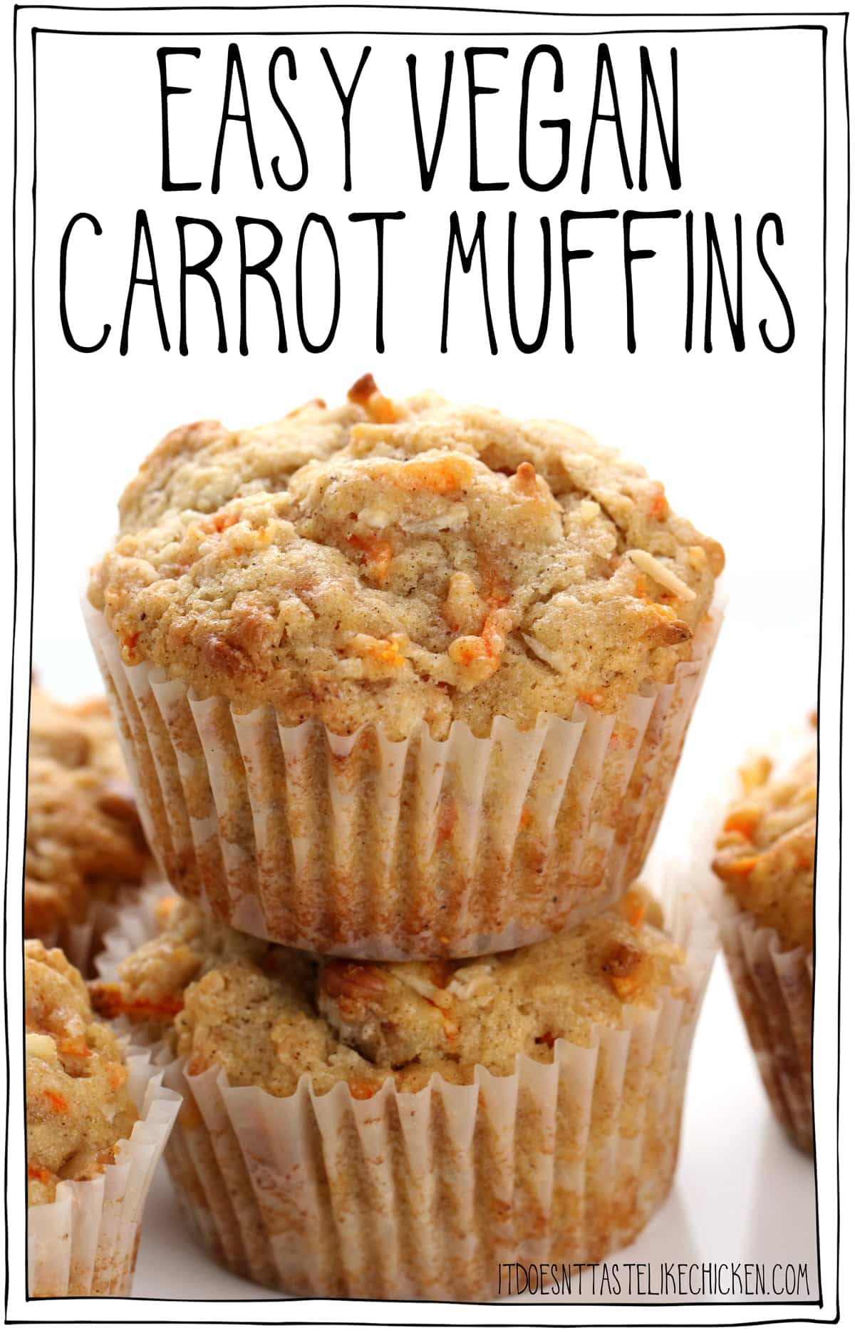 Easy Vegan Carrot Muffins! The tastiest muffins ever. Each muffin is bursting with sweet carrots, crunchy walnuts, chewy coconut, cinnamon, and nutmeg. Making these the BEST carrot muffins you will ever taste! #itdoesnttastelikechicken #veganrecipes #veganbaking #muffins