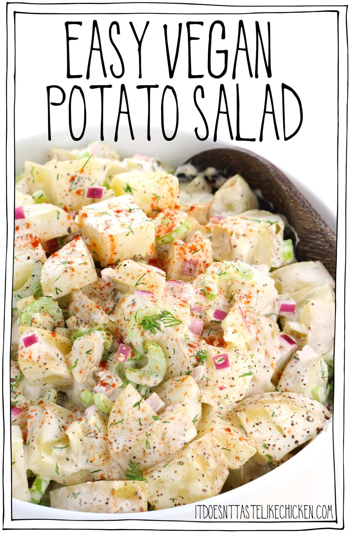 Easy Vegan Potato Salad! Tender potatoes are coated in a creamy dreamy dressing with the perfect blend of herbs and seasonings. Easy to make and can be made ahead of time so it's perfect for meal prep, BBQ's, and potlucks. #itdoesnttastelikechicken #veganrecipe
