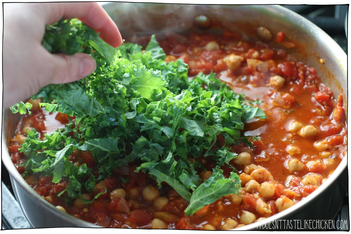 Add the kale and chickpeas to the stew.