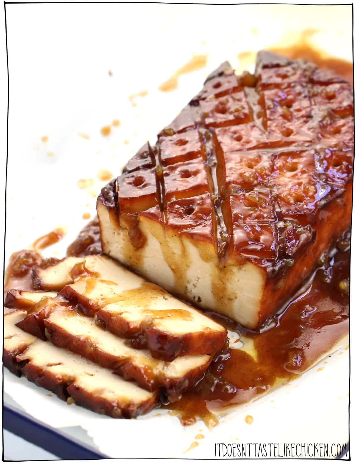 Brown Sugar & Mustard Glazed Tofu! Just 10 ingredients and easy to make. Inspired by glazed ham this tofu roast is the perfect centrepiece for Easter dinner or a holiday feast. #itdoesnttastelikechicken #veganrecipes #easterrecipe