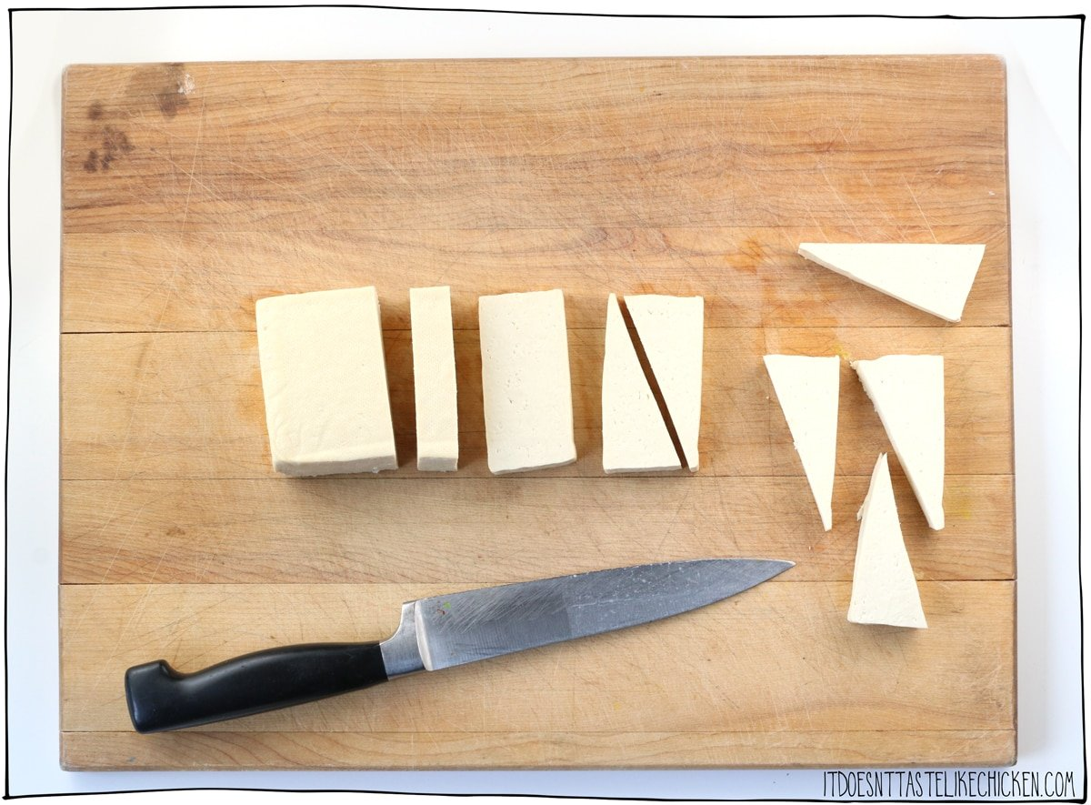 cut the tofu into 16 triangles