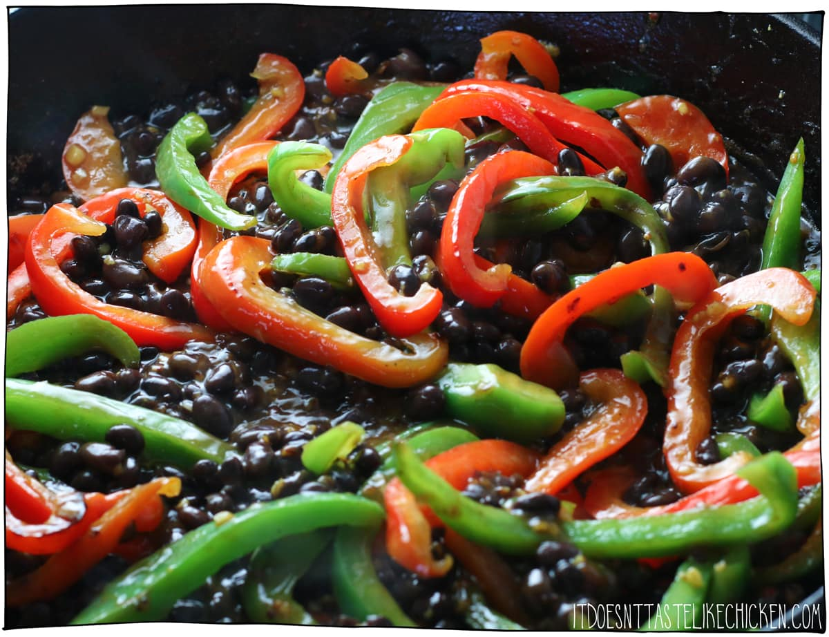 add the black beans, pepper steak sauce, and cook.