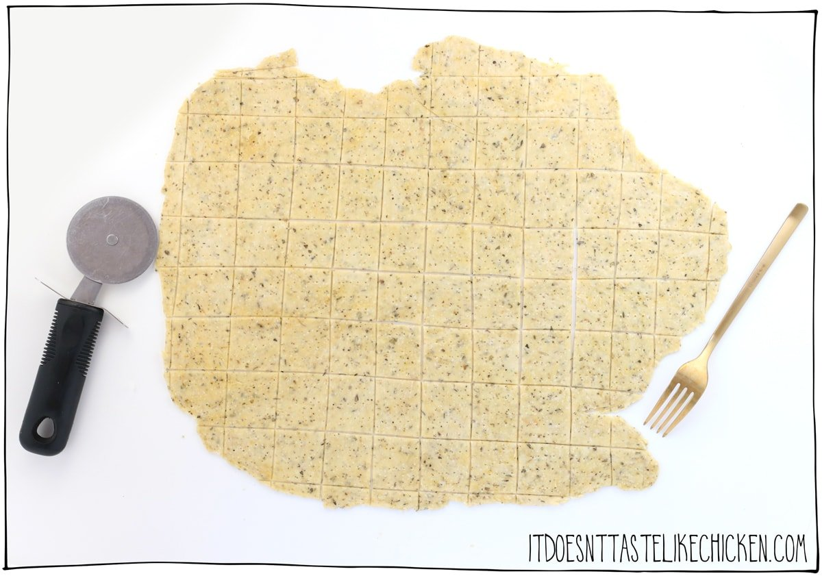 Cut the dough into crackers.