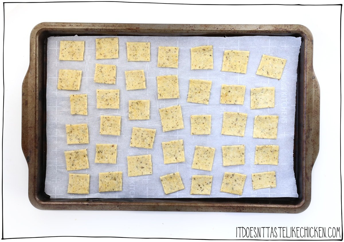 Peel up the crackers and place them on the tray for baking.