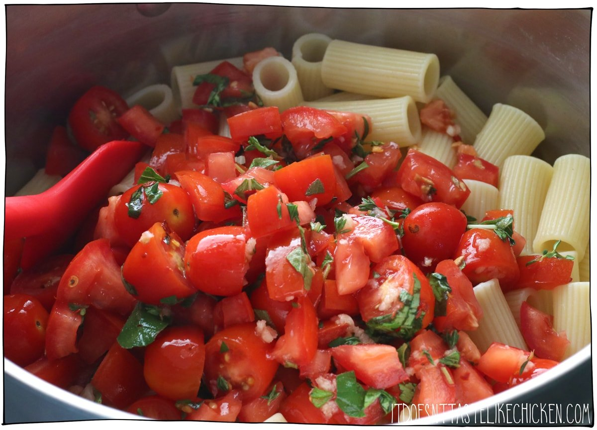 Toss the tomatoes with the hot pasta.