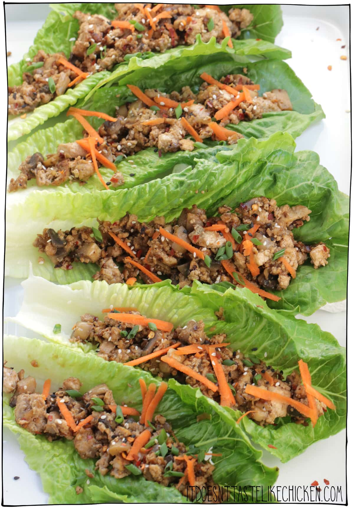 Vegan Mushroom Tofu Lettuce Wraps! These lettuce wraps are easy and quick to make and are incredibly delicious. Perfect for an appetizer or light meal. Meal prep friendly! #itdoesnttastelikechicken #veganrecipes #tofu