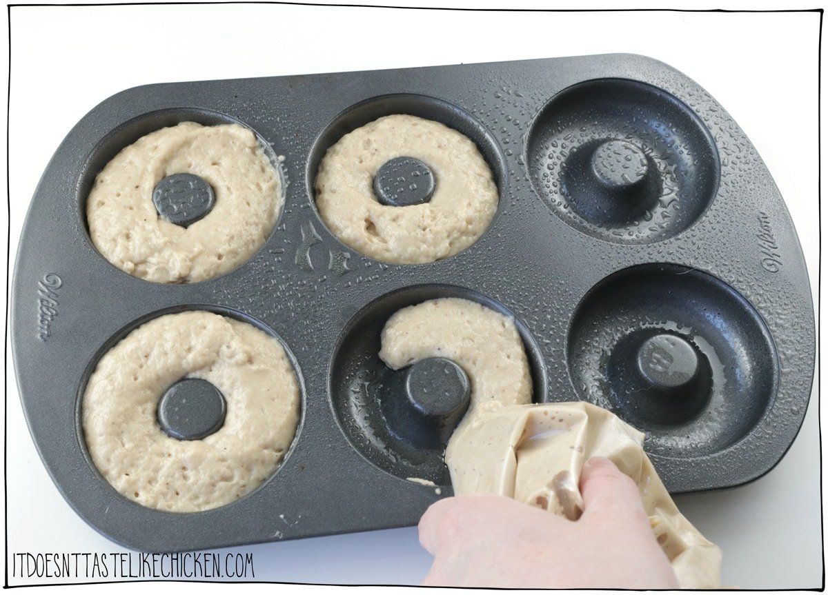 Pipe the dough into the donut pan.