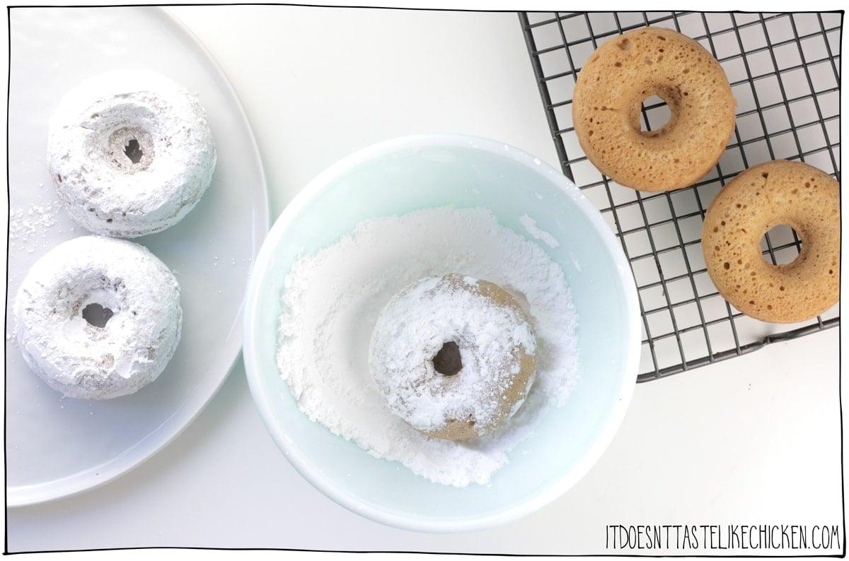 Dip in powdered sugar.
