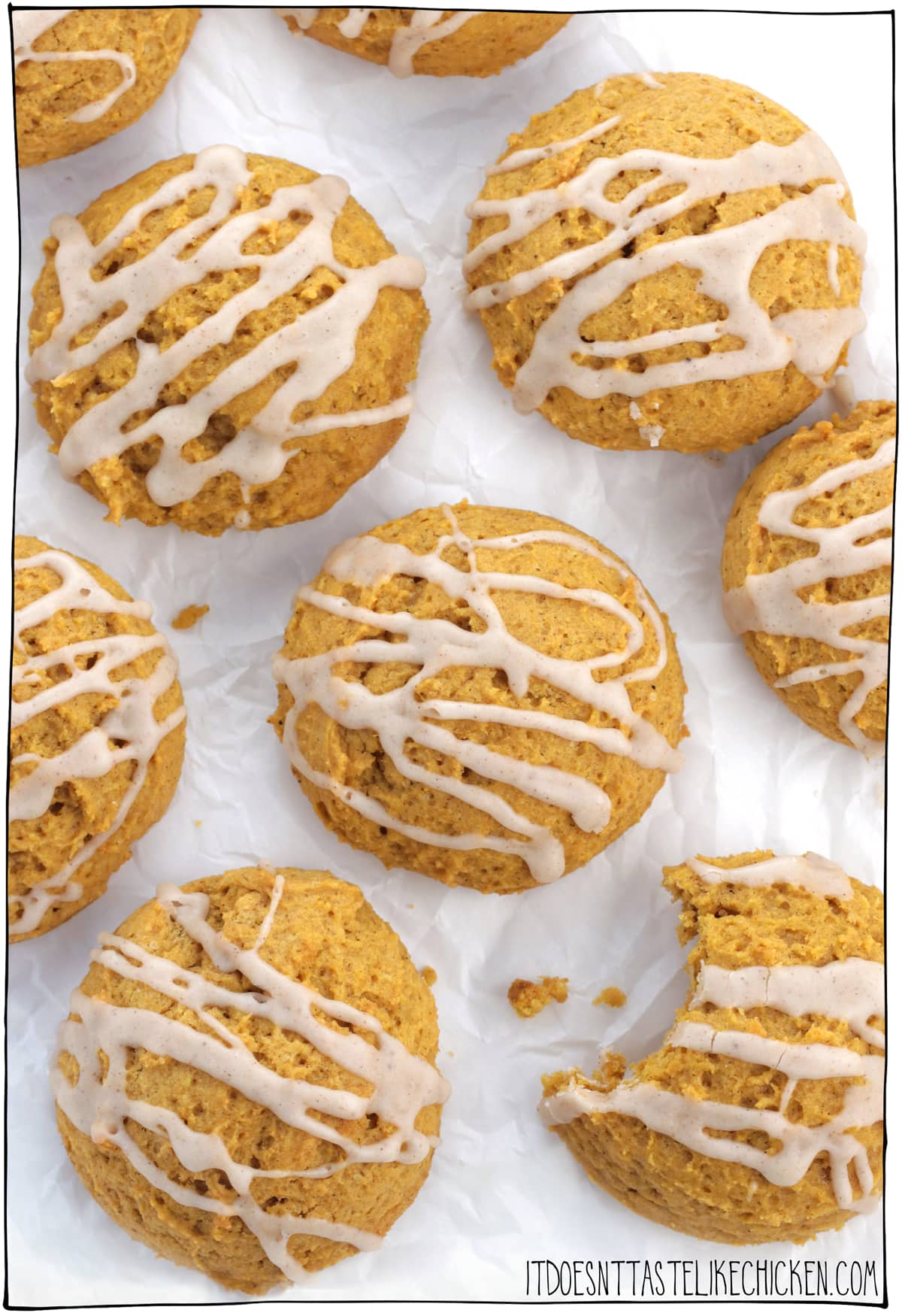 Soft Vegan Pumpkin Cookies with pumpkin spice icing are every bit as delicious as they sound! These old fashioned cookies are super soft and cakey, almost like the top part of a cupcake more than a traditional cookie. They are easy to make and freeze beautifully. #itdoesnttastelikechicken #veganrecipes #veganbaking