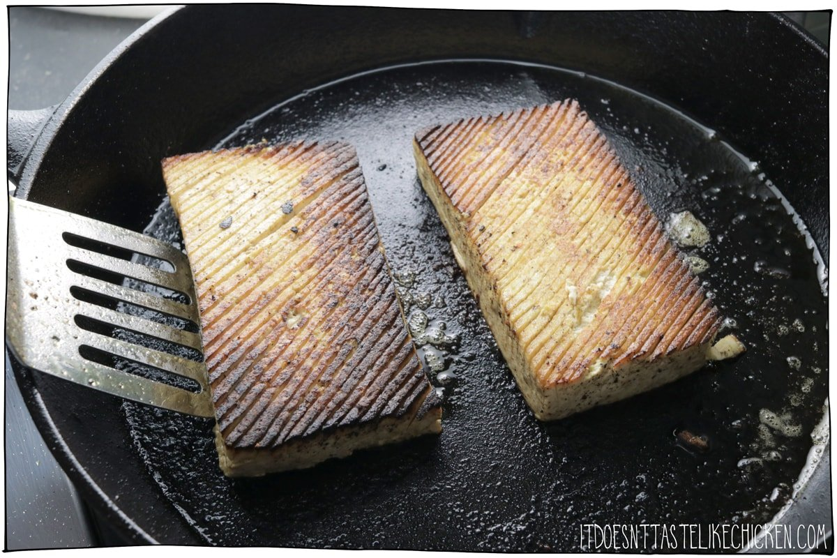 Pan fry the tofu fish until golden on both sides.