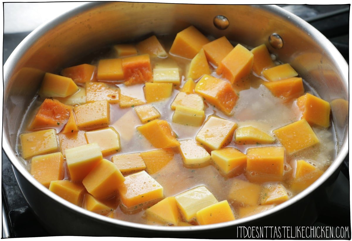 Cook the butternut squash with the onions, garlic, and vegetable broth.