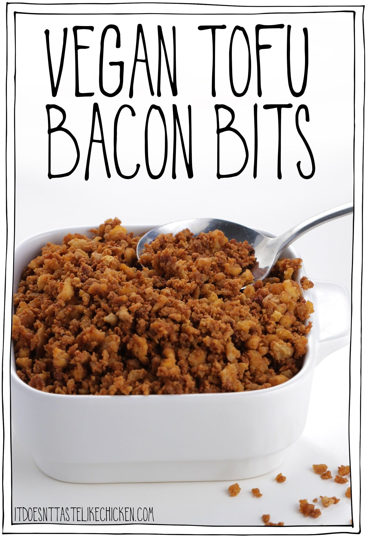 Vegan Tofu Bacon Bits! Easy to make with just 7 ingredients, oil-free, gluten-free, and are actually HEALTHY! Healthy bacon? I like the sounds of that! Sprinkle them on salad, soup, pizza, pasta, anywhere you like! #itdoesnttastelikechicken #veganrecipes #veganbacon