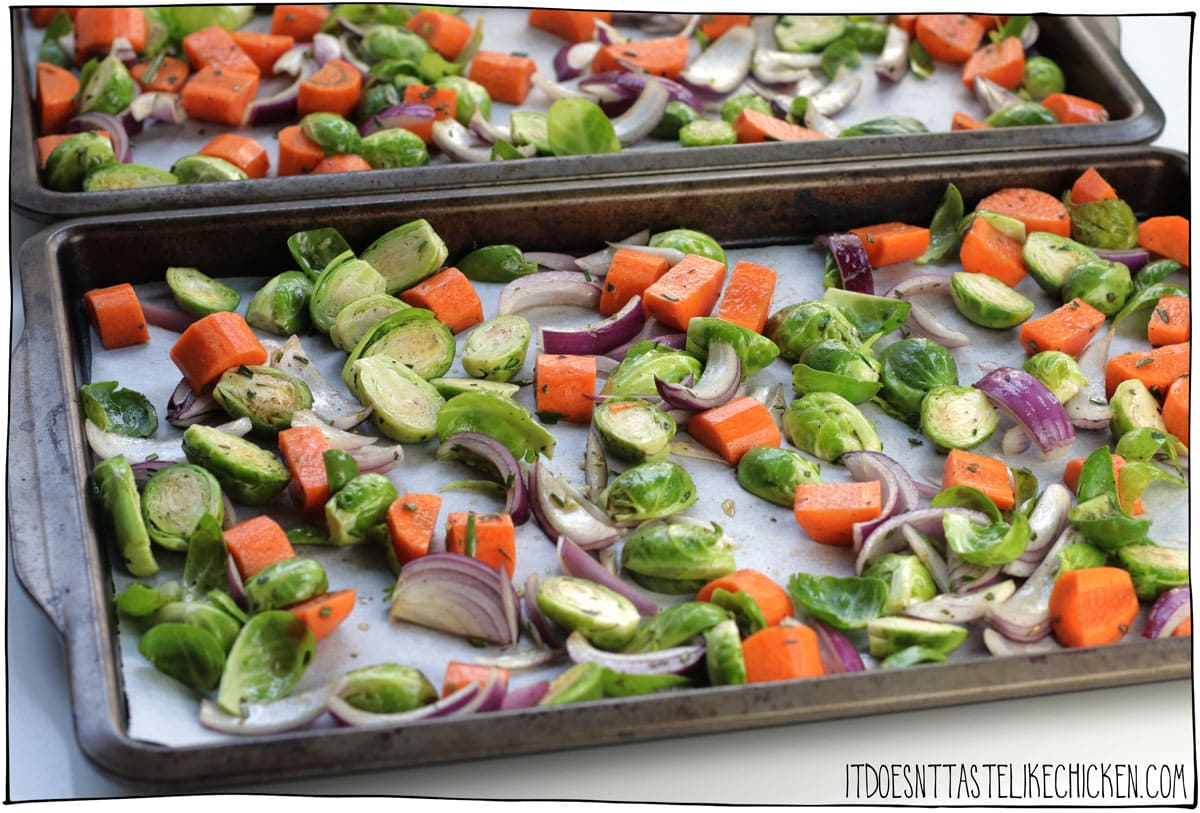Spread on the prepared baking sheets and roast.