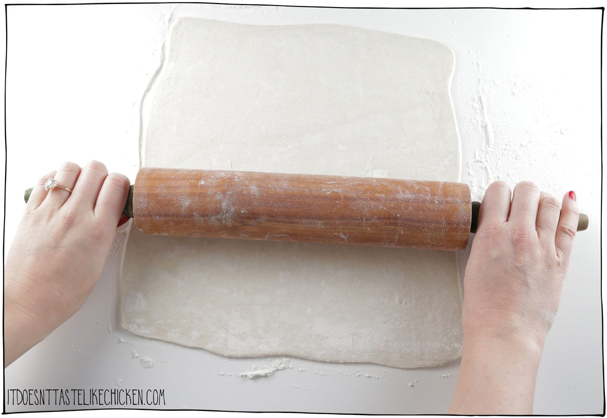 """When ready to prepare, roll the puff pastry into a 10"""" x 10"""" square."""