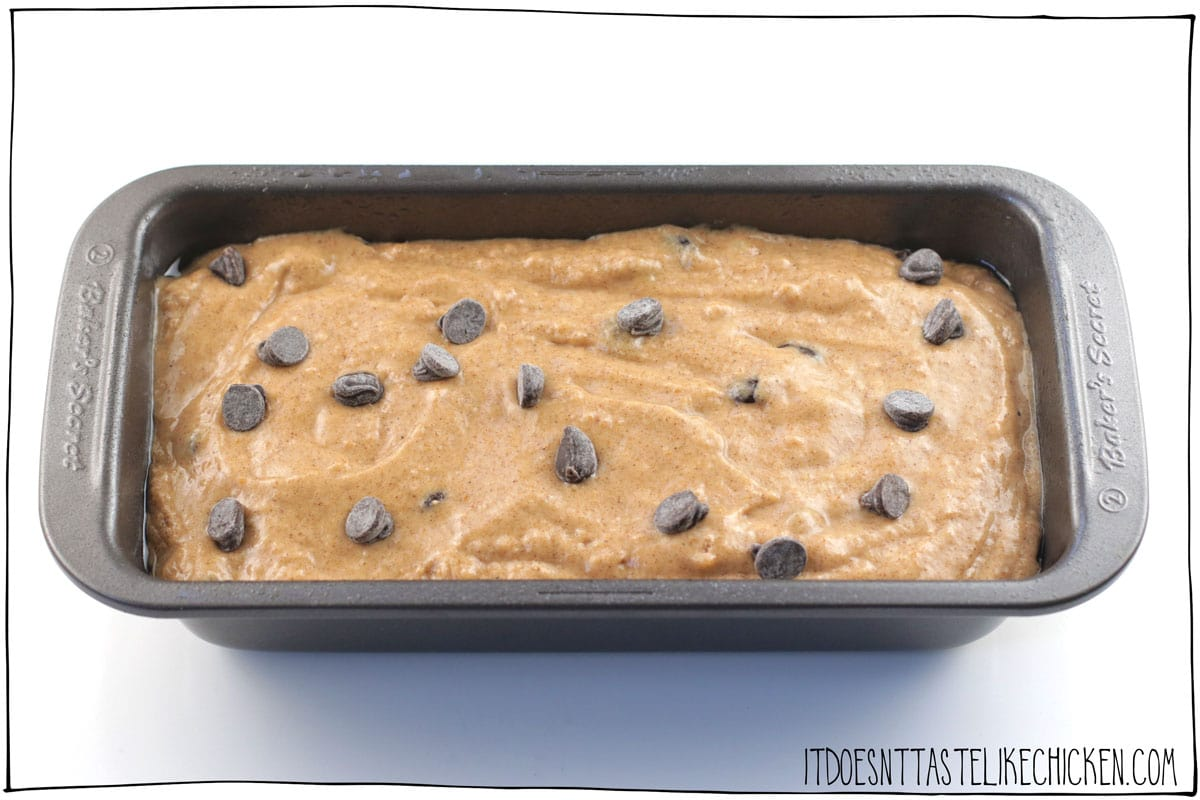 Pout into the prepared pan, sprinkle a few extra chocolate chips across the surface and bake.
