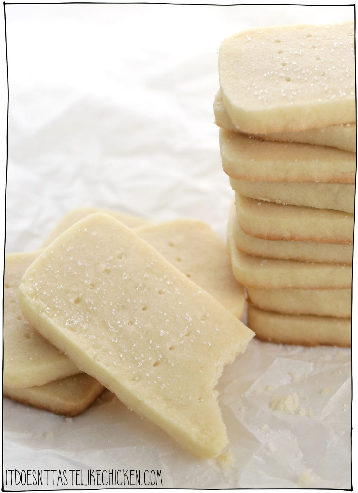 Easy Vegan Shortbread Cookies! Just 5 ingredients, and 20 minutes to make (plus chilling time). So simple, so buttery, melt in your mouth goodness. The cookie dough can be made ahead of time and even frozen if you like for easy cookie prep. Perfect for all the holidays: Christmas, Easter, Valentine's Day, or on any old day with a cup of coffee or tea. #itdoesnttastelikechicken #veganbaking #vegandesserts