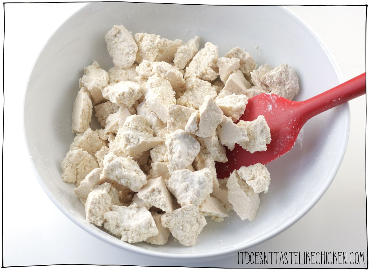 tear the tofu and toss in cornstarch