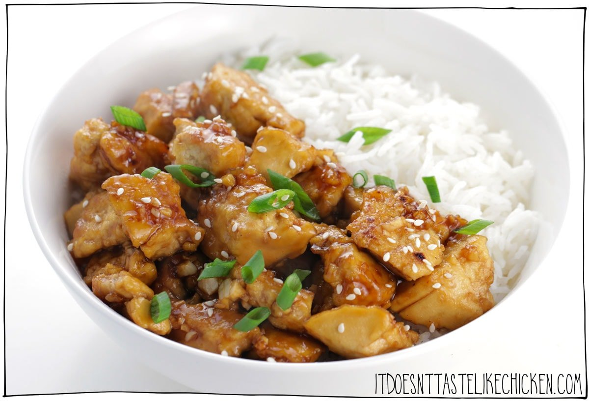 Easy Sticky Teriyaki Tofu! 10 minutes to cook, this tofu recipe is so easy to make and insanely delicious. In this recipe I share with you the key to making tofu taste like chicken!! (Yes, I'm aware of the irony)! Haha. #itdoesnttastelikechicken #veganrecipes #tofu